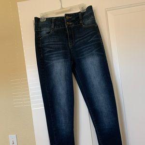 Thick dark blue, high waist jeans